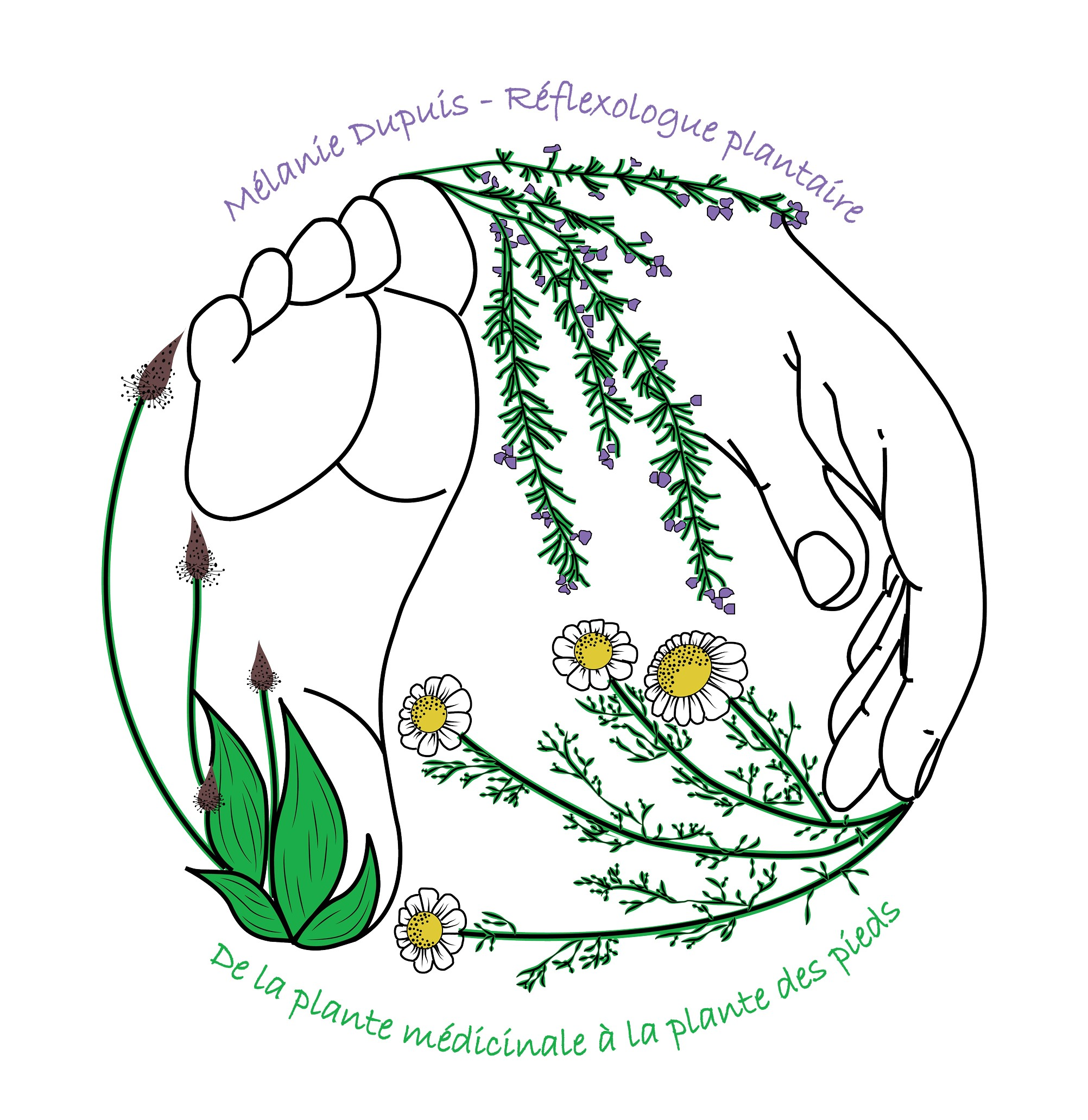 logo melanie dupuis - reflexologue plantaire - avec texte 2