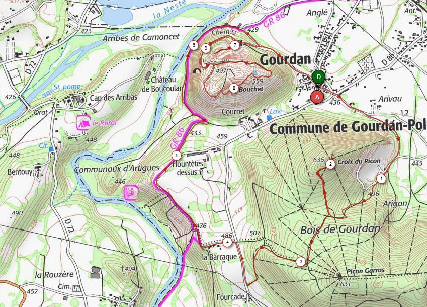 Carte de notre Trail des 2 Picons de Gourdan-Poulignan, Février 2021