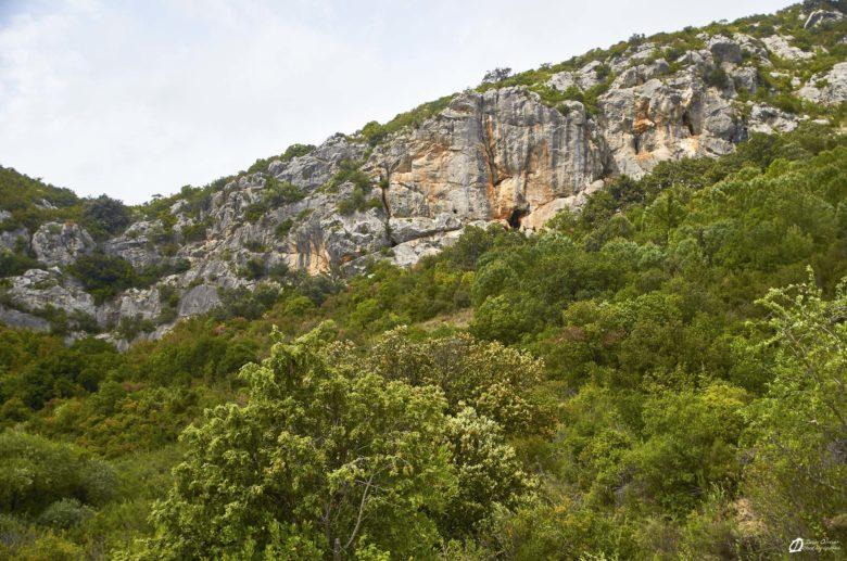 Vue d'ensemble de la falaise du Bousquet depuis le parking - mai 2021